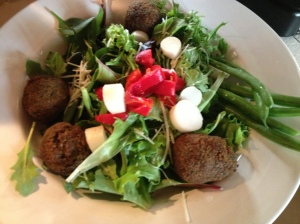 Falafel with salad--dinner!